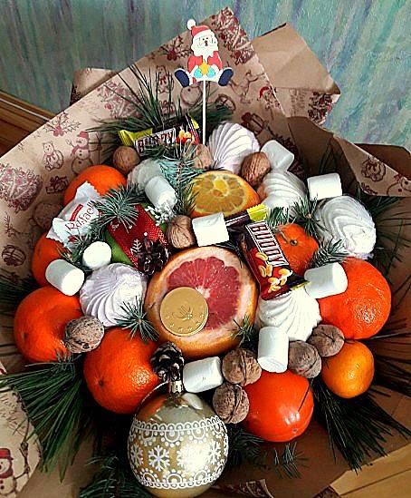 Букет на новый год из апельсинов