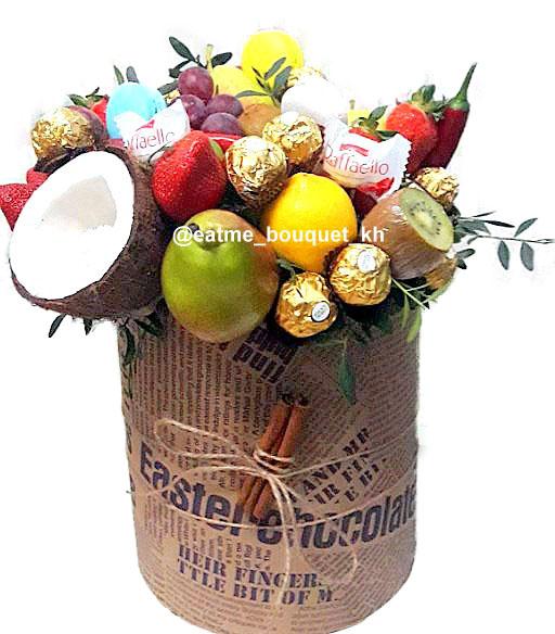 фруктовый букет в шляпной коробке