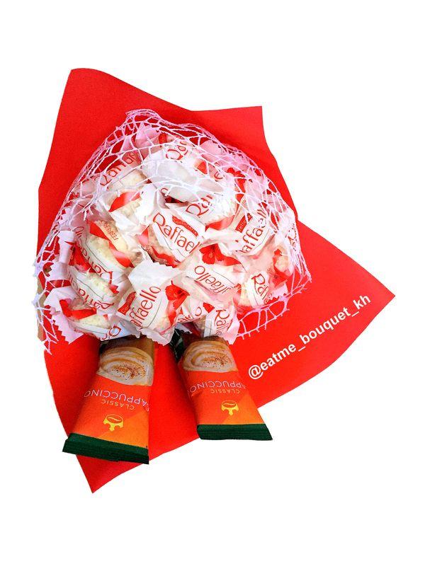 сладкий букет из конфет рафаелло