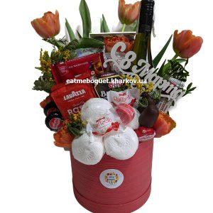 Букет с кофе и тюльпанами
