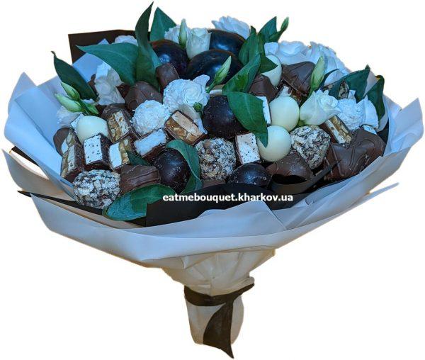 Нежный шоколадный букет с эустомой в Харькове
